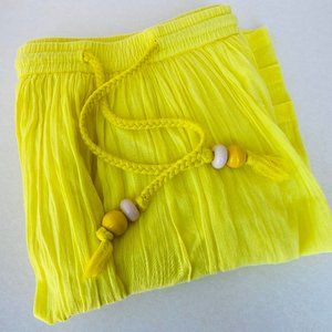 Lemon Yellow Cotton Voile Beaded Drawstring Skirt